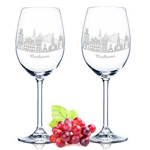 Leonardo Weinglas mit Gravur - Cuxhaven Geschenk im 2er Set - Weingeschenk - Souvenir Andenken & Mitbringsel - Geburtstagsgeschenk für Sie & Ihn