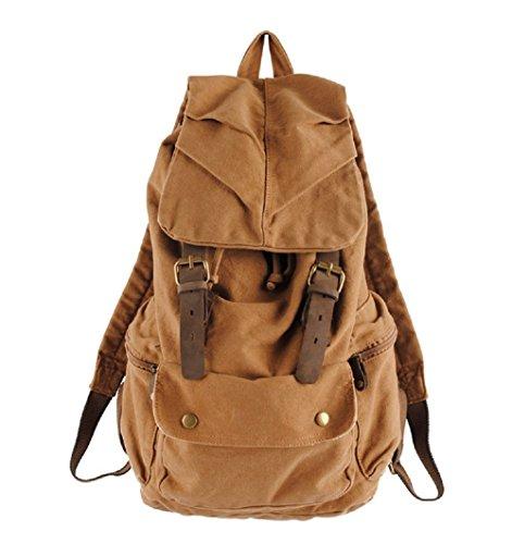 Homme Femme Vintage Mode Loisirs Toile Randonnée Voyage Sac à dos militaire Messenger Tote Bag Vidéo Portable Carry Case Cartable Outdoor Living Fashion Bag étudiants (Jaune)