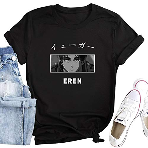 Anime Attack on Titan Shirt AOT Costume Short Sleeve Graphic Tshirt Clothing Clothes Eren Yeager Beautiful Cute Funny Cosplay Merch Women Girls Men Tees Tops