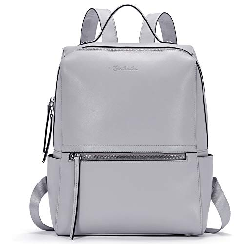 BOSTANTEN Women Leather Backpack Travel Casual Ladies Rucksack Fashion Casual Girls Backpack Grey