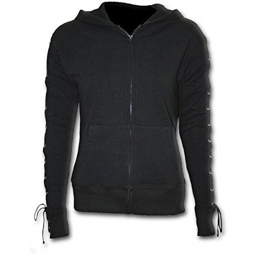 Spiral Direct Gothic Rock-Laceup Full Zip Glitter Hoody Sweat-Shirt À Capuche, Noir (Black 001), 44 (Taille Fabricant: Large) Femme
