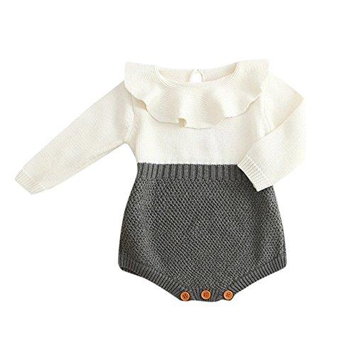 MEIbax Kinder Mädchen Baby Gestrickte Pullover Winter Prinzessin Strick Strampler Overall Spielanzug Jumpsuits