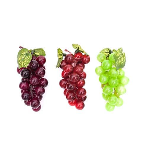 Yililay Frutas 3PCS Decorativo Artificial de plástico, Frutas Artificiales Espuma Uvas Artificiales para la decoración del hogar del Partido