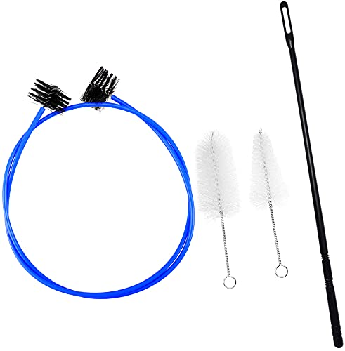 Hysagtek 4 Pieces Trumpet Cornet Maintenance Cleaning Kit, Snake Brush Mouthpiece Brush Valve Casing Brush Flexible Brush with Cleaning Rod
