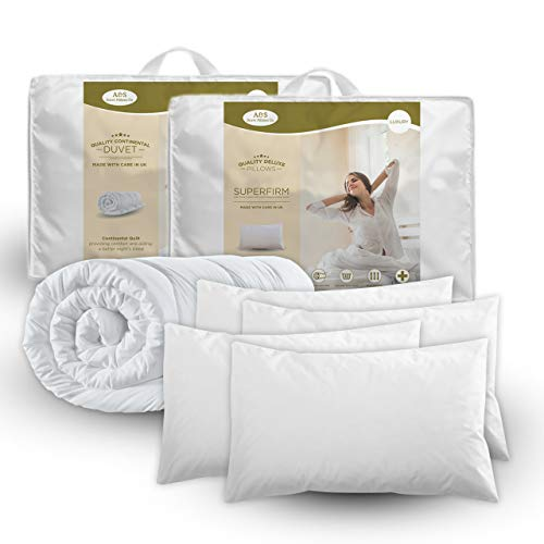 DOUBLE DUVET & 4 DELUXE PILLOWS - DOUBLE 13.5 TOG QUILT & 4 SUPERFIRM PILLOWS