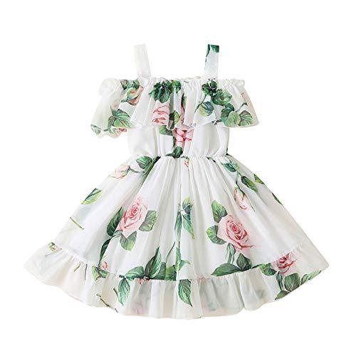Keepwin Vestido Niña, Vestidos Ninas Fiesta Volante Tirantes Fuera del Hombro Estampado de Floral Vestido para Niñas Casual Disfraz Princesa Vestir Infantil Ropa Playa Verano (Verde, 3_Years)