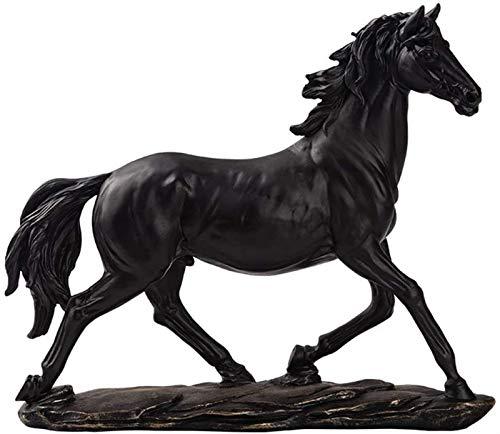 XIAOGING Esculturas de Caballos y estatuas, Feng Shui Figurines Adornos, Decoración Oficina Mesa de Escritorio Vino Armario Regalo, Negro (Color : Black)
