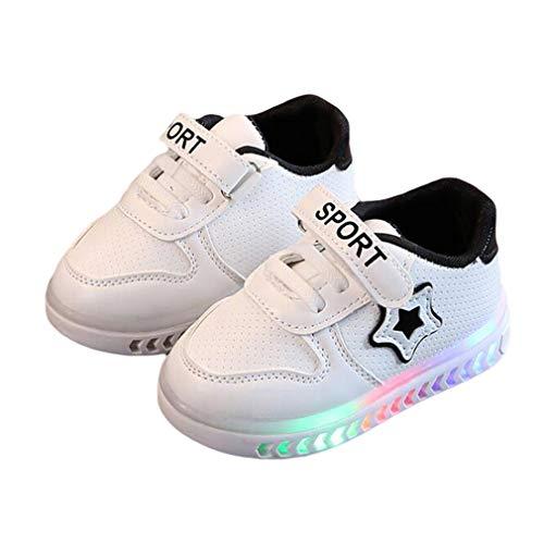LED Scarpe da Ginnastica Unisex-Bambini Scarpe Luminose Ragazza Ragazzo Low-Top Scarpe da Sportive Casuale Scarpe da Piatto Velcro Sneakers Taglia 21 a 30