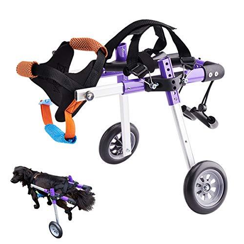 Hund Rollstuhl, Haustier Rollstuhl Multi Direktionale Anpassung Zwei Räder Geeignet für Große und Kleine Hunde Katzen und Andere Tierhinter Beine Rehabilitation,S
