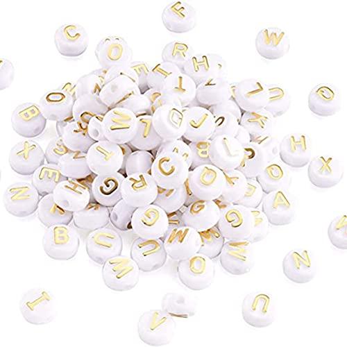 Zhang-StrongAn 200 Piezas de Cuentas de Letras acrílicas de 10 mm en Forma de Letra de Oro Blanco para Pulseras Que Hacen Cuentas de Letras Redondas Planas