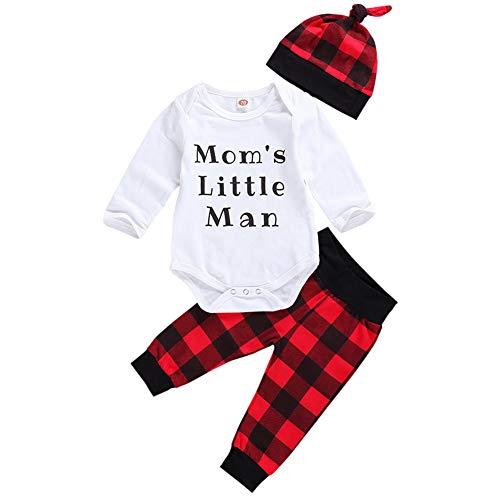 Geagodelia Babykleidung Set Baby Jungen Weihnachten Kleidung Weihnachtsoutfit Langarm Body Strampler + Hose Neugeborene Babyset My First Christmas (Weiß & Rot - Mom's Little Man, 0-6 Monate)