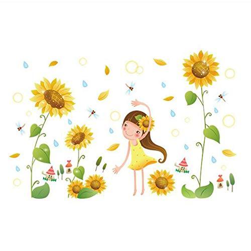 Fashionbeautybuy - Adesivo da parete in PVC, motivo: Girasole, fiori, libellula, decorazione per la casa, soggiorno, adulti, adolescenti e bambini
