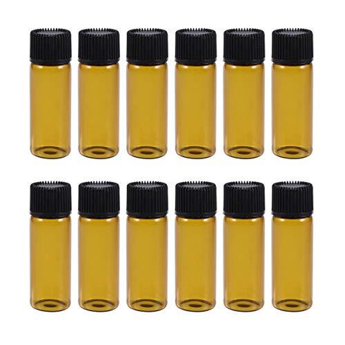 Minkissy 12 Piezas Mini Frascos de Vidrio de Color Ámbar Frascos Botellas Pequeñas Frascos con Tapas para Aceites Esenciales Laboratorio de Química Productos Químicos Colonias Perfumes 5 Ml