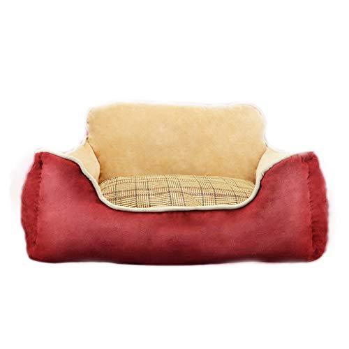 Liuyu · Casa de la Vida Nido de mascota rectangular rojo Totalmente extraíble y lavable Cuatro estaciones Universal con respaldo Cojín disponible de doble cara Pequeño Resiliencia media Nido de cama d