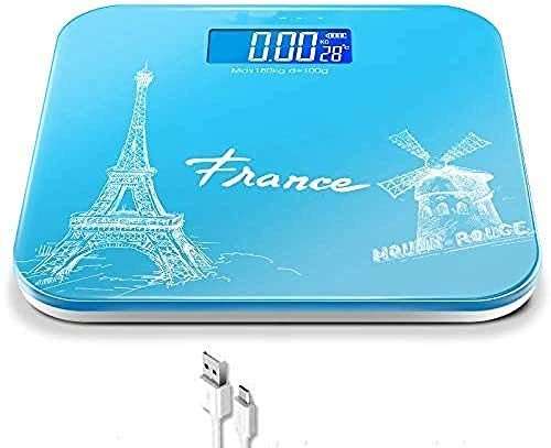 Carga USB Básculas de baño digitales Vidrio templado - Pesaje electrónico del cuerpo Pantalla de fácil lectura Step-On.