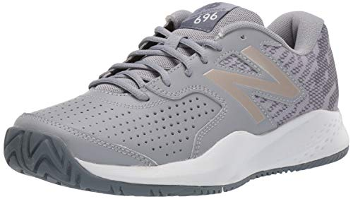 New Balance Women's 696 V3 Hard Court Tennis Shoe, Steel/Champagne, 12 XW US