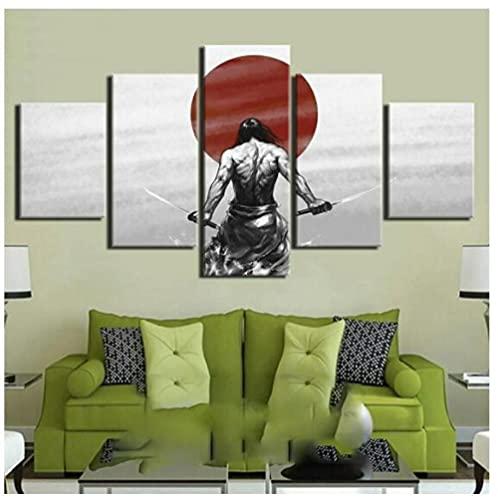 Frontones decorativos 5 Piezas De Arte De Pared Anime Samurai Japonés Ronin Sword Paintings Hd Print Posters Canvas Pictures Sala De Estar Decoración Para El Hogar Tamaño B (Con Marco)