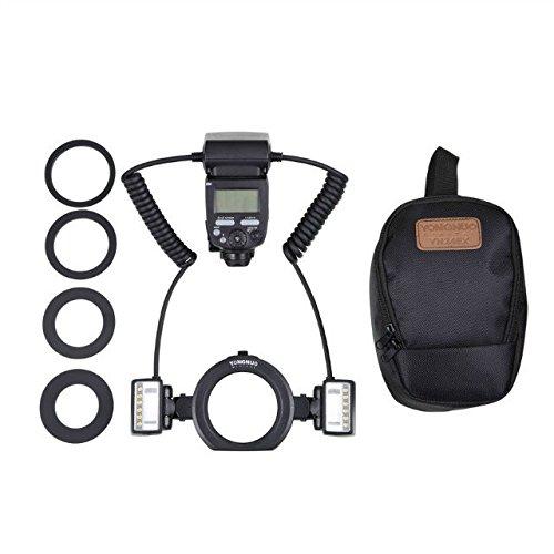 YONGNUO YN24EX TTL Macro Ring Flash LED Macro Flash Speedlite com 2 peças de cabeça flash e 4 anéis adaptadores para Canon
