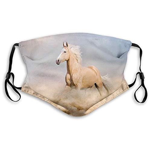 Paño de relleno para la cara para adultos, Palomino Horse in Sand Desert con pelo largo y rubio masculino, protección doble a prueba de polvo