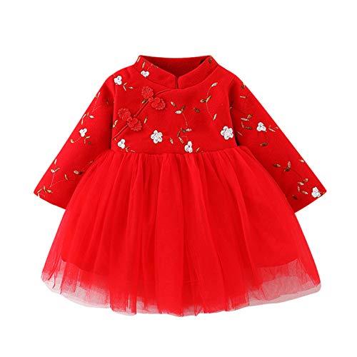 Vestido Beb Nia Princesa Rojo Estampado de Floral Encaje Tul Tutu Vestidos Nia Manga Larga Ropa Bebe Recien Nacido Nia Estilo Chino Cheongsam (Rojo, 2-3 aos)