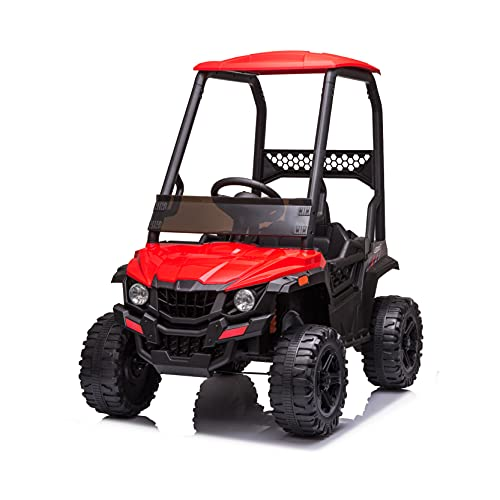 JIMUPARK 12V Electric Ride on Cars, Realistic Off-Road UTV with Ceiling, Motorized Vehicles for Kids, with Remote Control, Music, Story, Wearable Wheels, 3 Speed, Spring Suspension, LED Light -  JIMU-W42229398