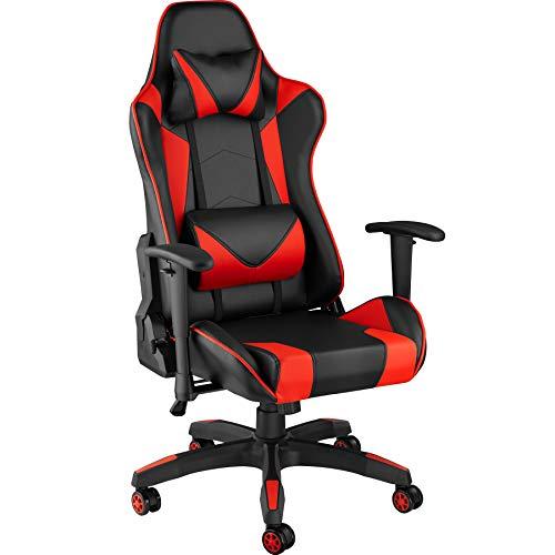 TecTake 800728 Poltrona da Ufficio Sedia da Gaming Direzionale Girevole per Casa Studio Sportiva Racing - Disponibile in Diversi Colori – (Nero-Rosso | No. 403207)