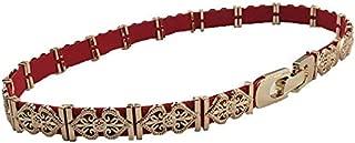 Happy-L Hot Sale Fashion Dress Waist Chain Thin Waist Seal Female Metal Stitching Elastic Waist Belt (Color : Red)