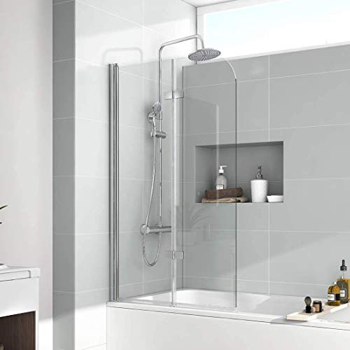 EMKE Duschwand für Badewanne, 110x140 cm Faltwand für Badewanne Faltbar Badewannenaufsatz Duschabtrennung mit 6mm ESG NANO-GLAS Schwenkbar 180º