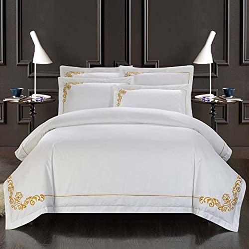 UKKD Cama de Cuatro Piezas Cotton Home Hotel Setting Set White Luxury Satin Strip Bed Line Four Piezas Hoja Duvet Funda 2 Pillowcases-C,King Size 4 Pcs