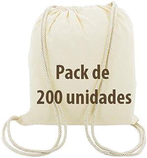 Siglo XXI Publicidad Bolsa Mochila Algodón Natural Cierre Con Cordones x 200 unidades