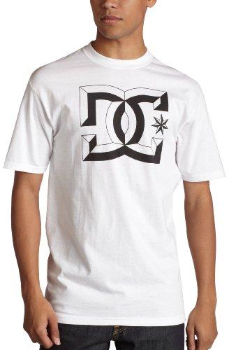 DC Camiseta de Manga Corta Center D para Hombre, Color Blanco, Talla M