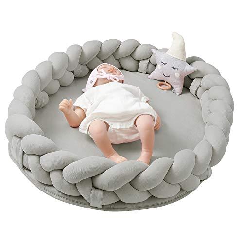 Nordic Coast® Baby Nest Geflochten – Multifunktionales Babynest Grau mit Bettschlange geflochten – [90x60 cm] – 100% Oeko Tex Baumwolle – Babybett Kokon Kuschelnest Reisebett für Säuglinge