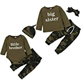 Baby Brother Sister Matching Outfits Boy Girl Long Sleeve Romper Shirt+Camouflage Pants+Hat Headband 3Pcs Clothes Set (Big Sister, 3-4T)