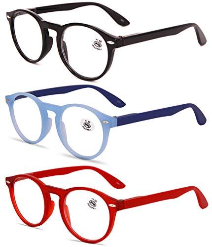 KOOSUFA Lesebrille Herren Damen Retro Runde Nerdbrille Lesehilfen Sehhilfe Federscharniere Vollrandbrille Anti Müdigkeit Brille mit Stärke 1.0 1.5 2.0 2.5 3.0 3.5 4.0 (Schwarz+blau+rot, 1.5)