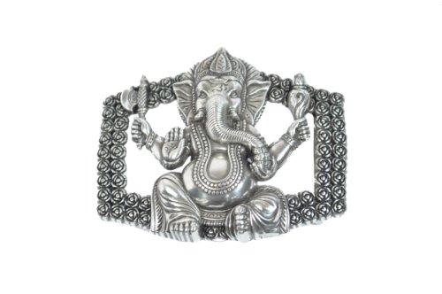 VaModa Gürtelschließe Buckle Wechselschließe Gürtelschnalle Modell Ganesha, 9x7cm, Silber