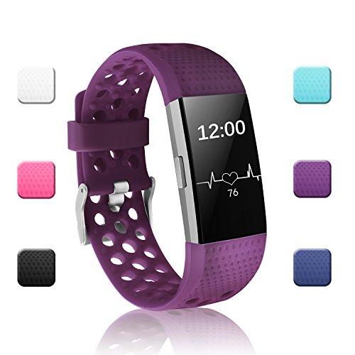 POY Replacement Bands Compatible for Fitbit Charge 2, Adjustable Breathable Wristbands with Air Holes Straps, Large Plum