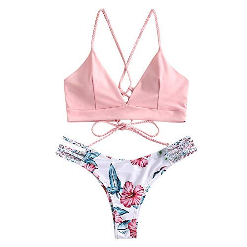 ZAFUL Damen Floral Leaf Lace Up Geflochtener Floral Bikini Set Zweiteiliger Badeanzug (L, ROSA)