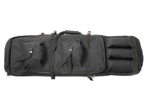 BEGADI Langwaffentasche/Futteral mit Doppelfach & Aussentaschen, 100 x 30cm - schwarz