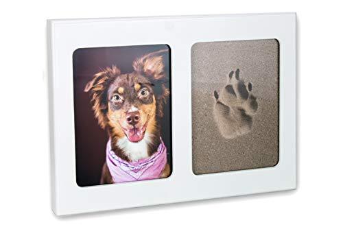 Tierisch-tolle Geschenke 3D Pfotenabdruck Set Lieblingshund inklusive weissem Bilderrahmen und 2 Formschaumplatten (ohne Gips) für Hund/Katze …