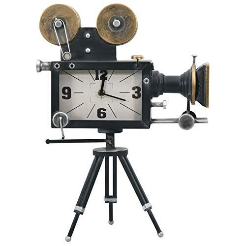 pedkit Standuhr, Tischuhr Rustikal Vintage Filmkamera Stativ Eisen Standuhr mit Quarzwerk, Dekouhr, Schwarz 33x16x45 cm