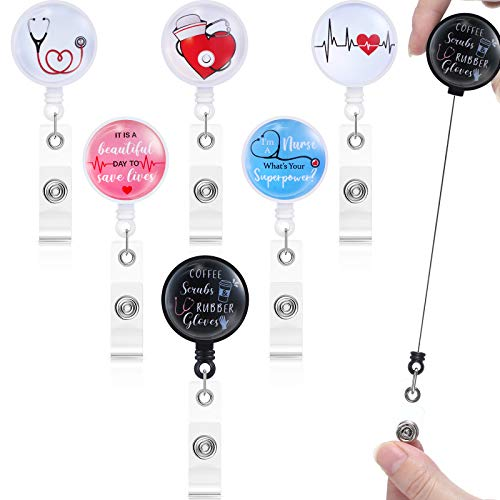 6 Pieces Retractable Nurse Badge Reel Nursing Name Badge Holder Funny ID Badge Reel Work Name Tag with Alligator Clip for Nurse Doctor Teachers Students, 6 Styles