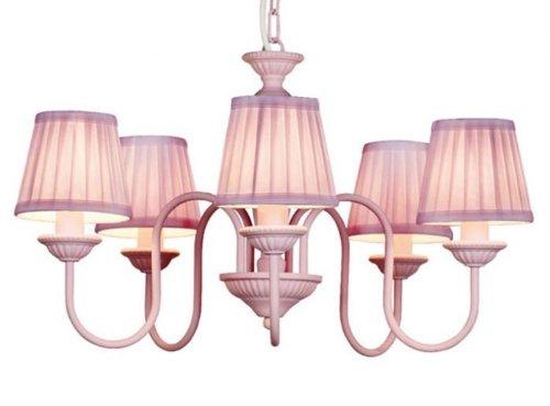 Barock Pendelleuchte mit Plissee-Schirm 5-Flammig, Rosa Leuchte Lampe
