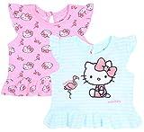 2X Camiseta de Color Rosa y Menta, t-Shirt Hello Kitty 6-9 Meses
