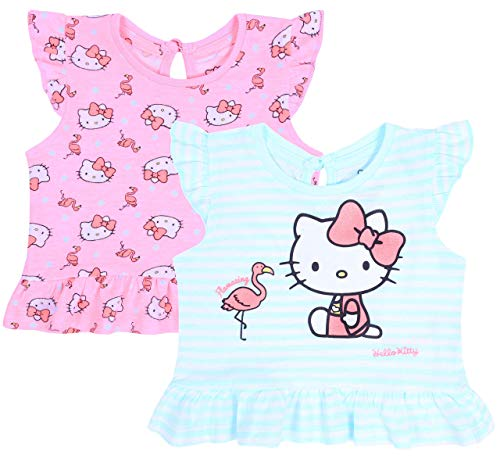 2X Camiseta de Color Rosa y Menta, t-Shirt Hello Kitty 3-6 Meses
