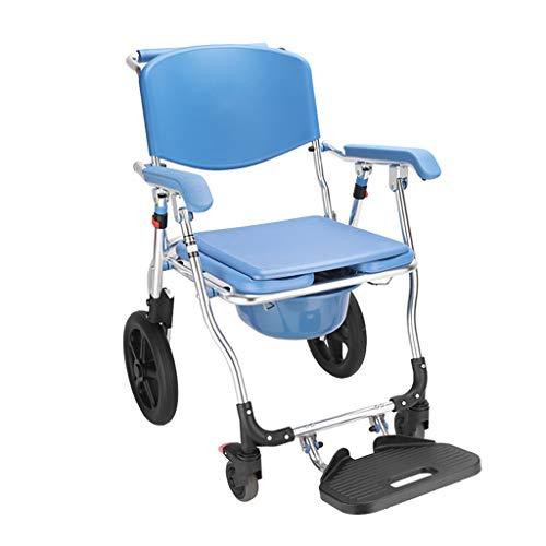 wheelchair Silla MóVil Silla De Inodoro con Ruedas, Silla De Transporte De Ducha Silla MóVil Plegable para BañO Taburete De Inodoro Anciano Discapacitado