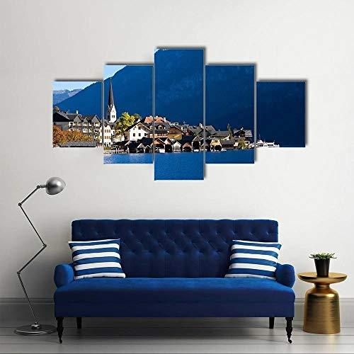 Bilder XXL 5 Teile wandbild leinwandbilder Kunstdrucke Hallstatt In Österreich XXL 5 Teiliges Wandbild Mit Rahmen Größe 100x55CM Leinwandbild Wandbilder Cadeau