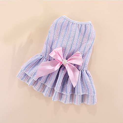Cash special price Striped Manufacturer direct delivery Bow Dog Dress Princess pet Summer