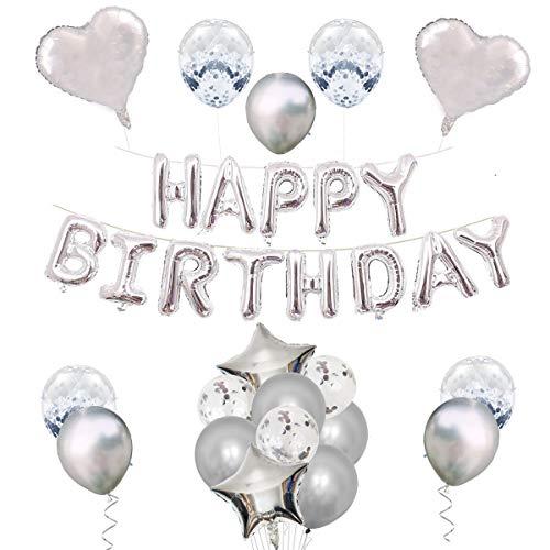 Lantch Luftballons Set Party Dekorationen, Geburtstag Banner, Konfetti Ballon, Latex Ballon, Folie Ballon, Roségold Luftballons Partyzubehör zum Geburtstag, Halloween, Weihnachten (Geburtstag-Silber)
