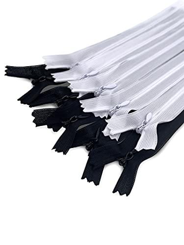 MARARDI Pack de 10 Cremalleras Invisibles [Blanco y Negro] de Nailon 22cm (9 Pulgadas) para Costura y Manualidades Perfecto para Confeccionar Ropa Bolsos Estuches