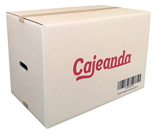 Pack de 10 Cajas de Cartón con Asas. Tamaño 550 x 350 x 370 mm. Canal Doble de Alta Calidad Reforzado y Resistencia. Fabricadas en España. Mudanza y Almacenaje. Cajeando